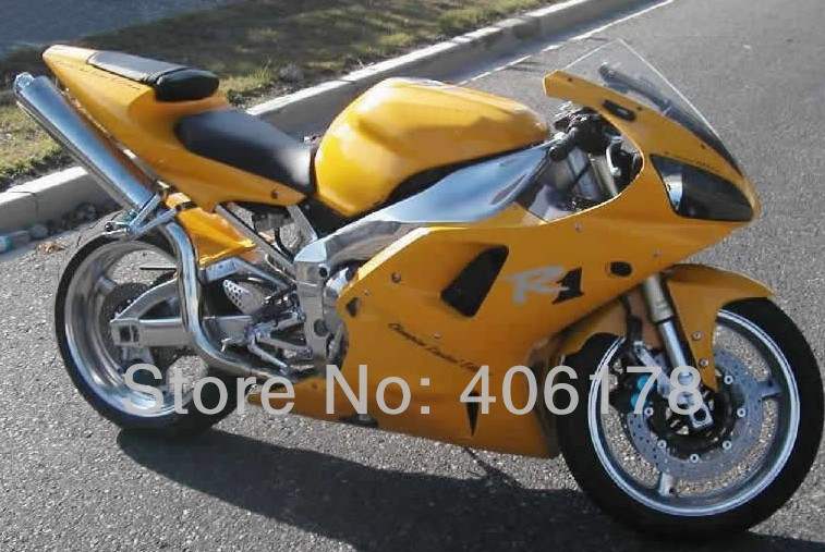 Hot Sales,OEM Yzf1000 00 01 R1 motofairing For Yamaha Yzf R1 2000 2001 Yellow Motorcycle Fairings (Injection molding)