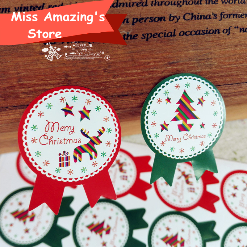 240pcs Christmas Sticker Paper Label Seal Box Envelope Gift Wrapping ...
