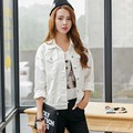 Korean Style 2016 Fashion Spring Autumn White Denim Jacket Women Casual Loose Jeans Coats Ladies Chaquetas Mujer Solid