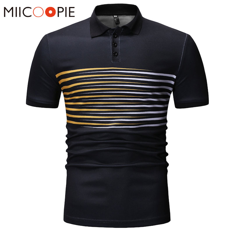Men's Fashion   Polo   Shirts Striped Casual Short Sleeve   Polo   Shirt Contrast Color Gradient Designed Slim Fit Men   Polos   Tops