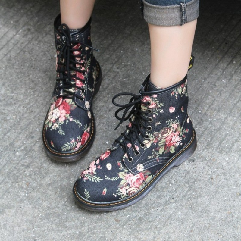 COOTELILI Flower-Shoes Flat-Ankle-Boots Lace-Up Motorcycle-Cow Autumn Plus-Size Fashion