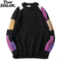 Men Sweater Pullover Hip Hop Knitted Sweater Streetwear Color Block Retro Vintage Loose Sweater Black Cotton Autumn 2018 Hipster