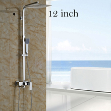 Luxury Chrome Stainless Steel 8 10 12 inch Rainfall Shower Faucet Bath and Shower Mixers with