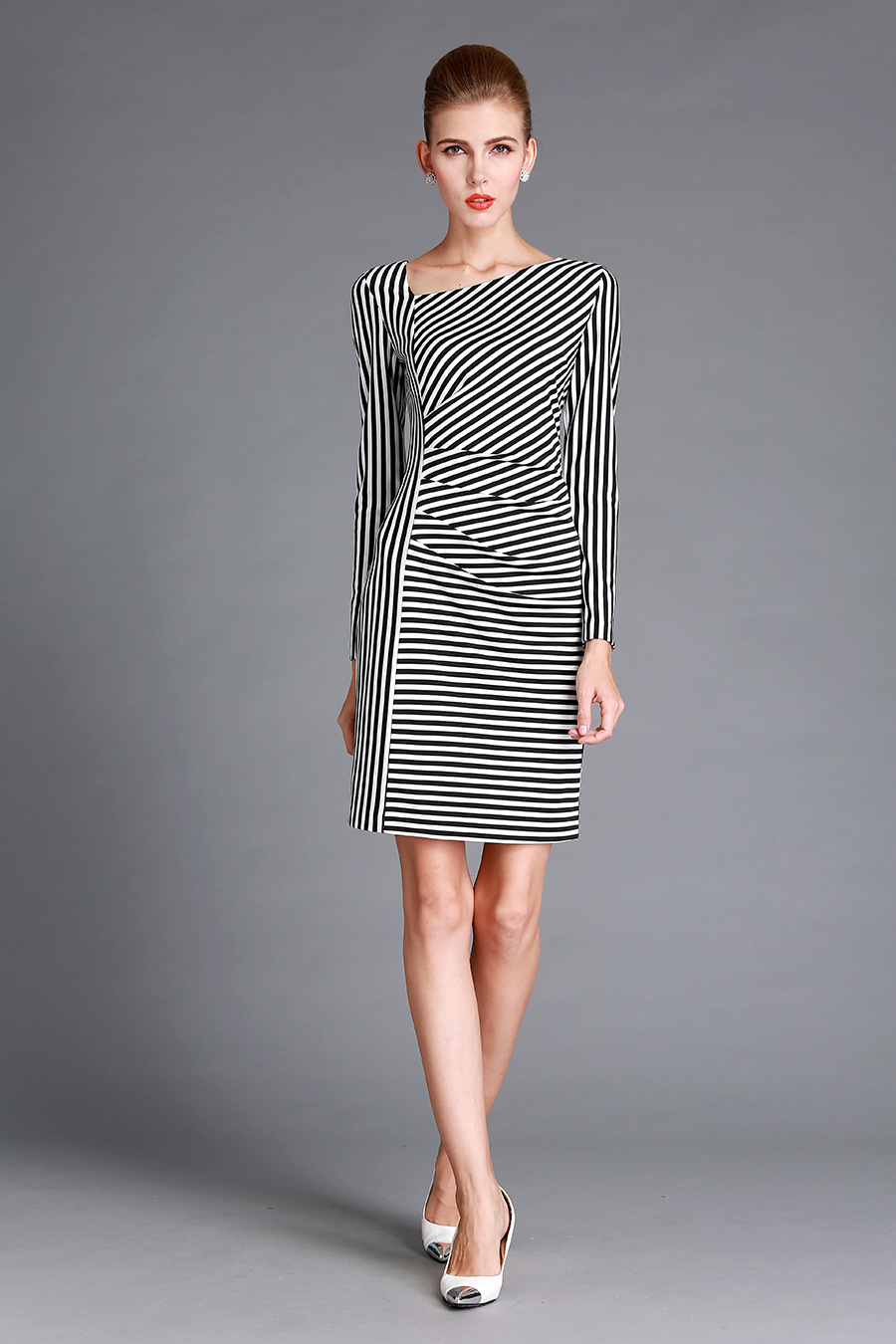 US $39 0 |autumn winter beautiful classical striped dresses women's midi  length good quality wholesale from the manufacturer from China -in Dresses