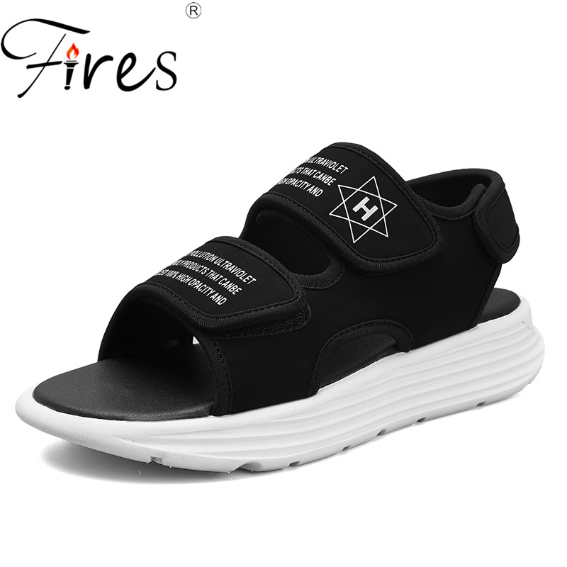 Fires Men Sandals Summer Breathable Cotton Flat Shoes Men Lightweight Slippers Outdoor Beach Mens Shoes Black Leisure Slippers