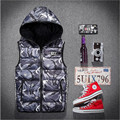 New Arrival Autumn Winter Mens & Women Fashion Waistcoat  Camouflage Cotton Hooded Vests Men Down Sleeveless Vest  A2220