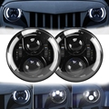 7 Inch Jeeps Wrangler LED Headlight JK Halo Headlights with DRL & Halo Angle Eyes H4 Plug