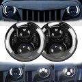 7 Pulgadas Jeep Wrangler JK Faros LED Faros con DRL y Halo Halo Ángulo Ojos H4 Plug