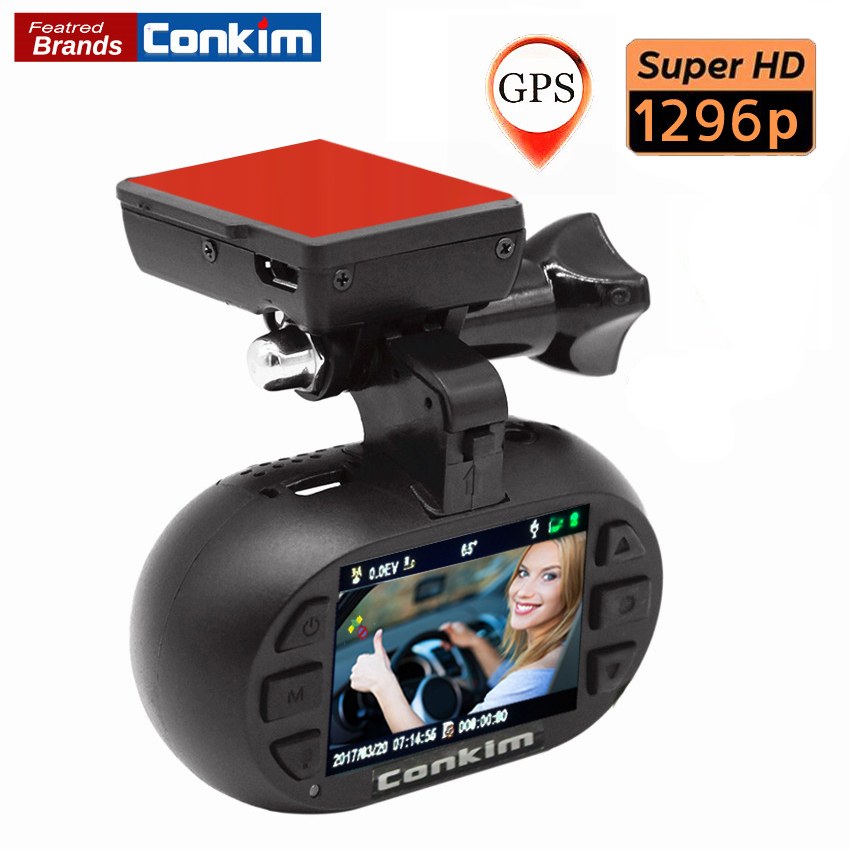 Conkim Dash Cam DVR Car Recorder Ambarella A7 OV4689 GPS Registrar 1296P Auto Camera+CPL/Hard Wire kit Optional MINI 0903 Plus kinklight 0903 07