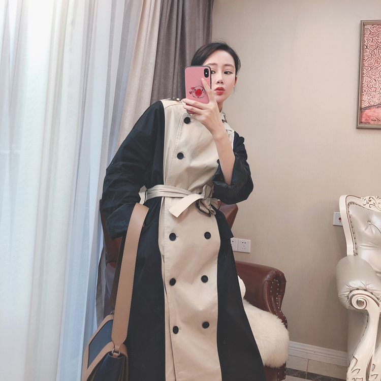 Hepburn Windbreaker Korean Autumn New Fashion Woman Classic Double Breasted   Trench   Coat Waterproof Raincoat Business Outerwear
