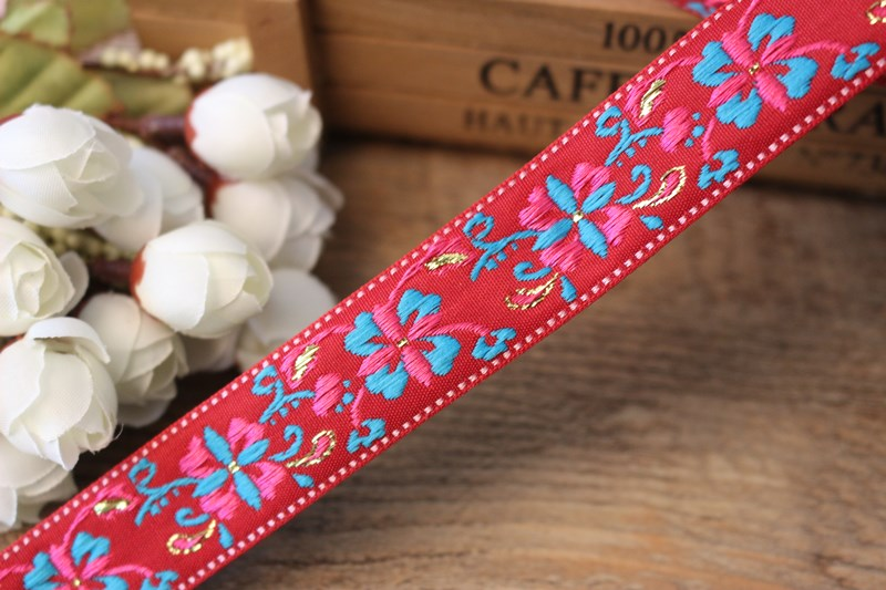 10 yards/lot wide 2.cm Woven Jacquard Ribbon blue flowers design background red  curtain and clothing accessory ls-1301