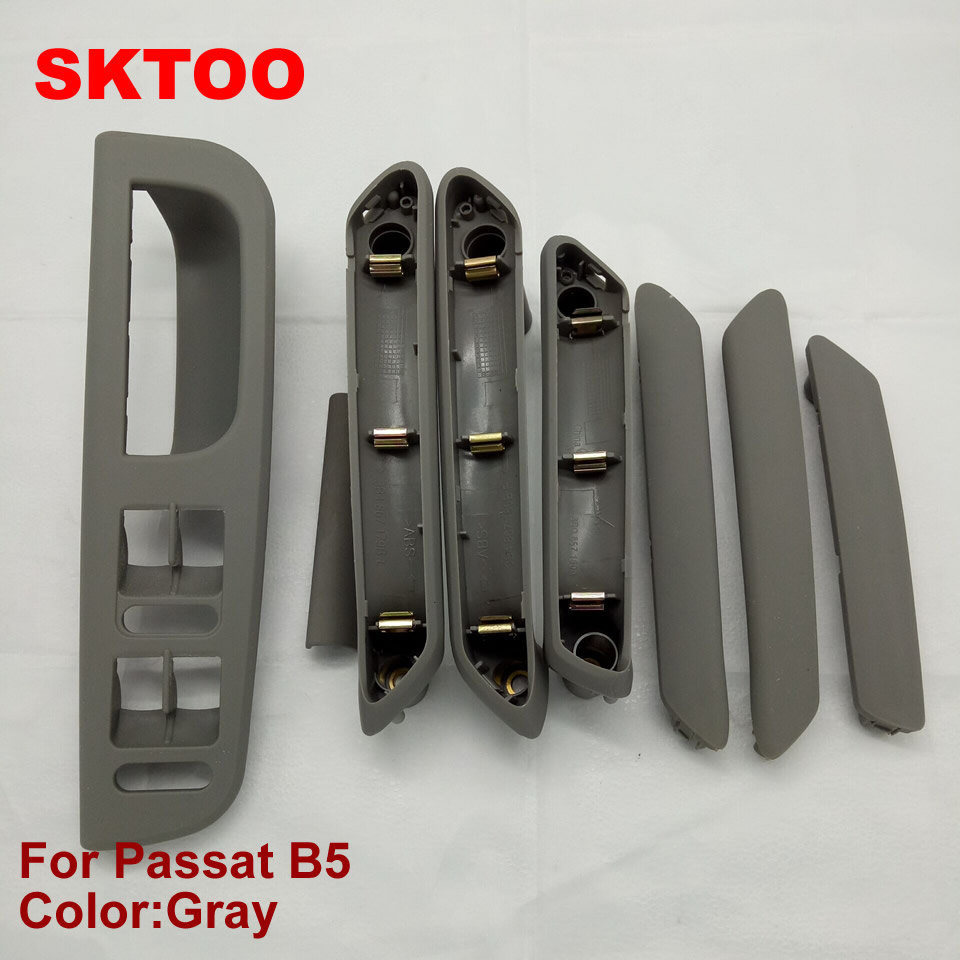 SKTOO ชุดสีเทาภายในรถมือจับประตูที่เท้าแขนและหน้าต่างแผงสวิทช์สำหรับ VW V Olkswagen p assat B5