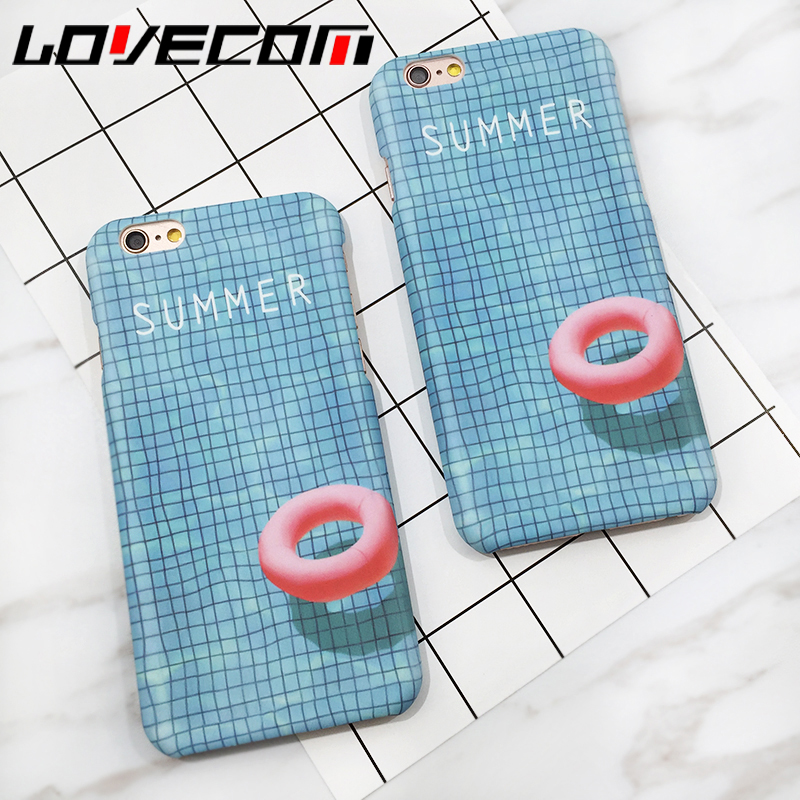 LOVECOM For iphone 5 5S SE 6 6S 7 7 Plus Phone Cases Fashion 3D Swimming Pool Ultra Slim Matte Hard PC Back Cover Coque Funda