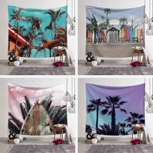 Cozy Seaside Coastal Natural Scenery Wall Hanging Gobelin Mural Coconut Tree Printed Polyester Beach Tapestry Bedroom Decor Art