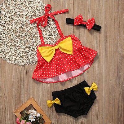Cartoon Dot Bowknot Toddler Kids Baby Girls Swimsuit Summer Bikini Set Swimwear Bathing Suit Beach Swimmer