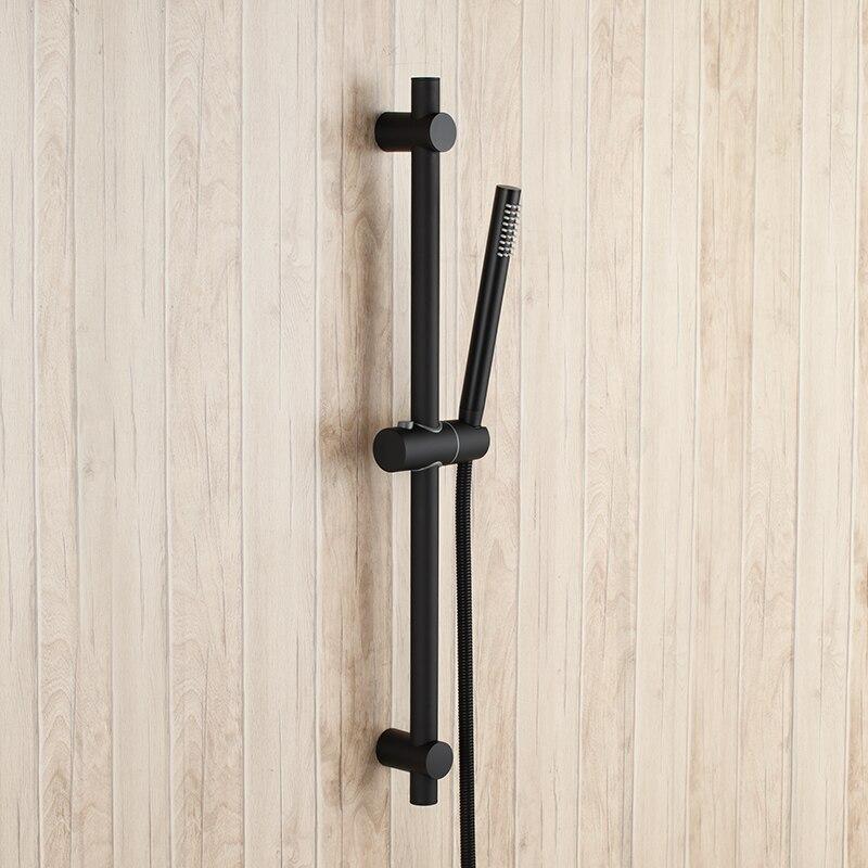 Pommeau de douche rond en laiton massif noir mat avec barre coulissante réglable en acier inoxydable