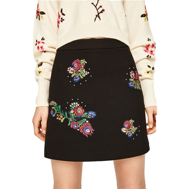 a0cfe12dc Skirts Womens 2017 New Fashion A-Line High Waist Embroidered Patches Short  Mini Skirt Women Black Skirt Female Retro Skirts