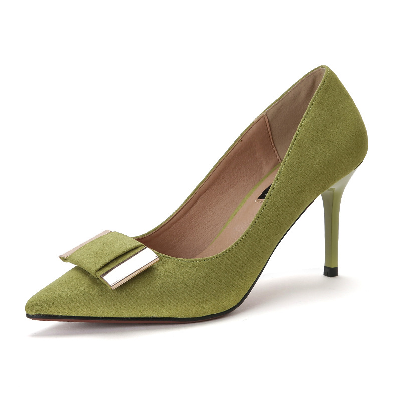ФОТО Spring Autumn Sweet Green OL Pumps For Womens Bowknot Suede Leather Designer Female Stiletto Thin Ladies Shoes Escarpins Femme