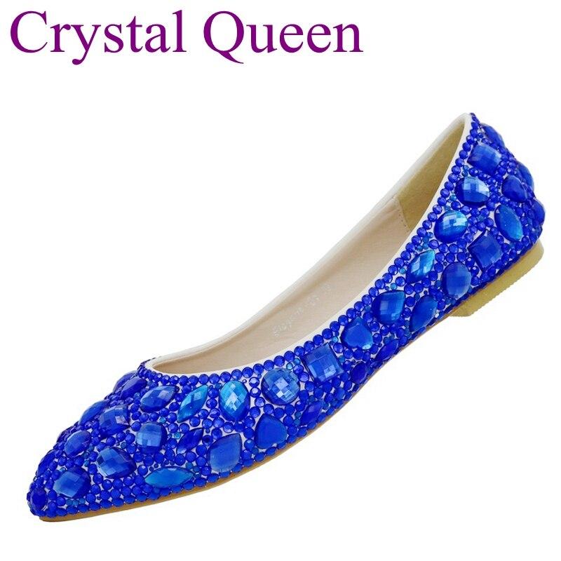 Crystal Queen Royal Blue Rhinestone Ballet Flats Women Shoes Flat Heel Pointed Toe Women Wedding Party