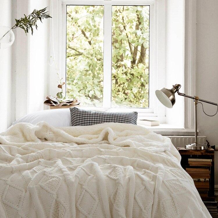 ใหม่ถักผ้าห่มหนาสองชั้นขนแกะที่เป็นของแข็งลายสก๊อตสำหรับเตียงโซฟาถัก Mantas ผ้าห่ม GY49-ใน ผ้าห่ม จาก บ้านและสวน บน   1