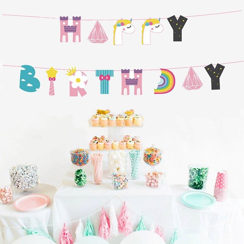 1set Unicorn Rainbow Happy Birthday Banner Garland Paper Hanging Flag Children Gender Reveal Baby Shower Birthday Party Supplies