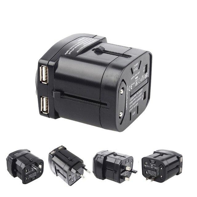 High Quality Global Worldwide Travel Universal Power Plug Adapter Socket Converter With Dual USB Charger 5V 2.1A  AU/US/UK/EU