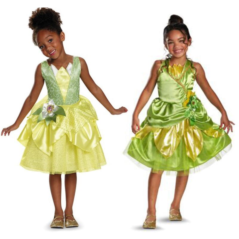 Girls Party Cosplay The Green Princess / Children The Frog Tiana Princess Costume Dress For Kids