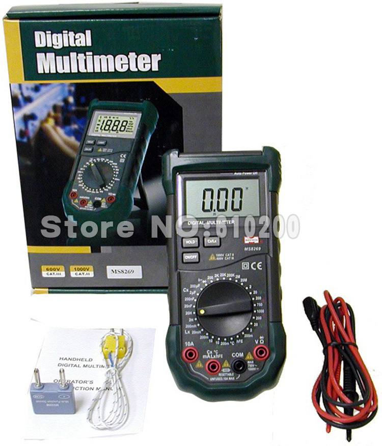 Mastech MS8269 3 1/2 Digital Multimeter LCR Meter AC/DC Voltage Current Resistance Capacitance Temperature Inductance Tester mastech my6243 3 1 2 1999 count digital lc c l meter inductance capacitance tester