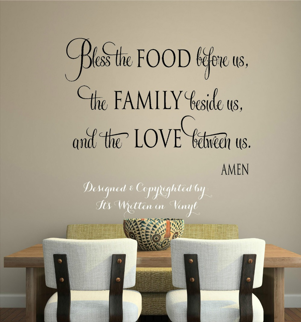 wall sticker bless the food vinyl lettering wall decal words home kitchen art wall stickers faith