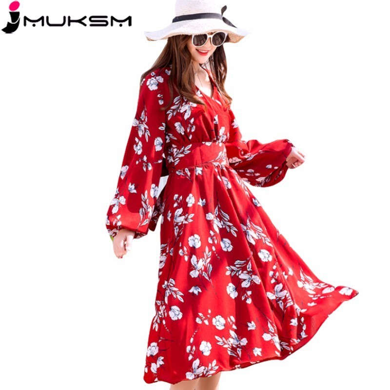 4a268ba510 2018 Spring Floral Print Chiffon Dress Women Cute V neck Long sleeved Waist  Slim Beach Dresses Elegant Red Party Vestidos J127-in Dresses from Women s  ...