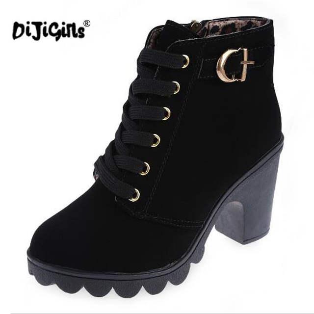 7e25166b7a50 DIJIGIRLS Autumn winter women new plus velvet short boots thick heels wild  black matte female korean