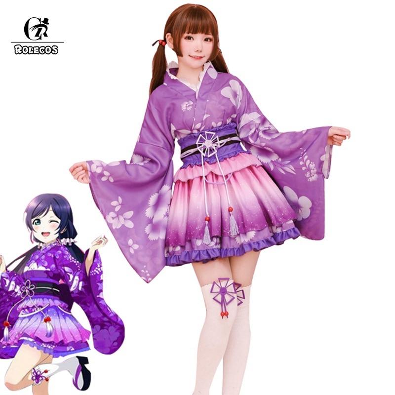 ROLECOS Love Live Cosplay Costume Kotori Minami Cosplay Kimono Tojo Nozomi Nico Costume LoveLive Festival Costume Halloween Game