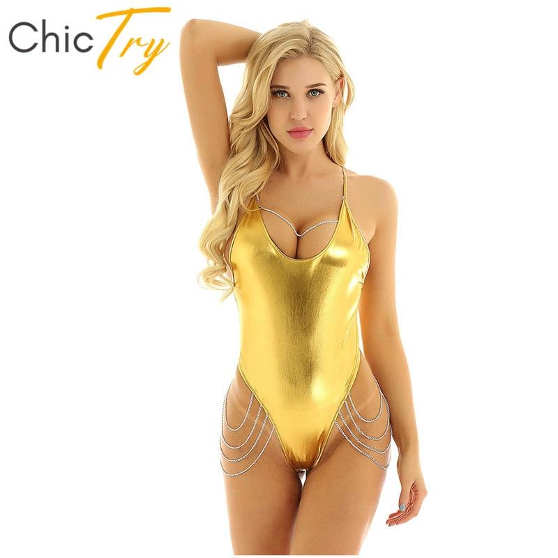 ChicTry Shiny Metallic Spaghetti Strap Women Leotard Metal Chain Tassel Nightclub Festival Rave Sexy Bodysuit Pole Dance Costume