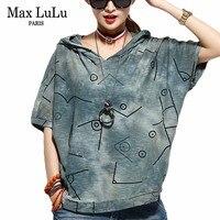 Max LuLu Été 2018 Célèbre Marque Designer Filles Fitness Tops t-shirts Femmes Imprimé À Capuchon T Chemises Vintage Femme T-shirt Plus taille