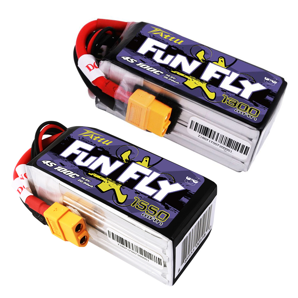 TATTU ACE FunFly 1300 mah/1550 mah 14.8 v 4S 4S1P 100C lipo batterie avec XT60 plug pour RC modèles FPV Drone Quadcopter