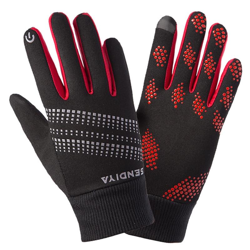 New Winter Men Women Full Finger Gloves Fleece Warm Windproof Touch Screen Non-slip for Outdoor Sports Running Cycling MTB Glove