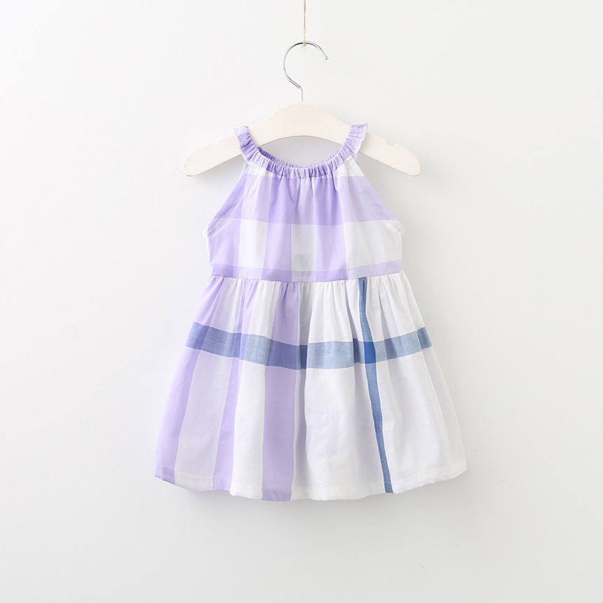 Children Summer Princess Sleeveless Wholesale Clothing Kids Plaid Dresses Baby Girls O-Neck Collar Boutique Clothes 6pcs/LOT