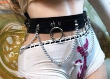 2018 nowy Punk Gothic Faux skórzany pasek metalowy pierścień łańcucha paskiem wokół talii taniec uliczny wystrój tanie tanio hirigin sexy cm Kobiety Moda Dla dorosłych Stałe 95cm Pasy