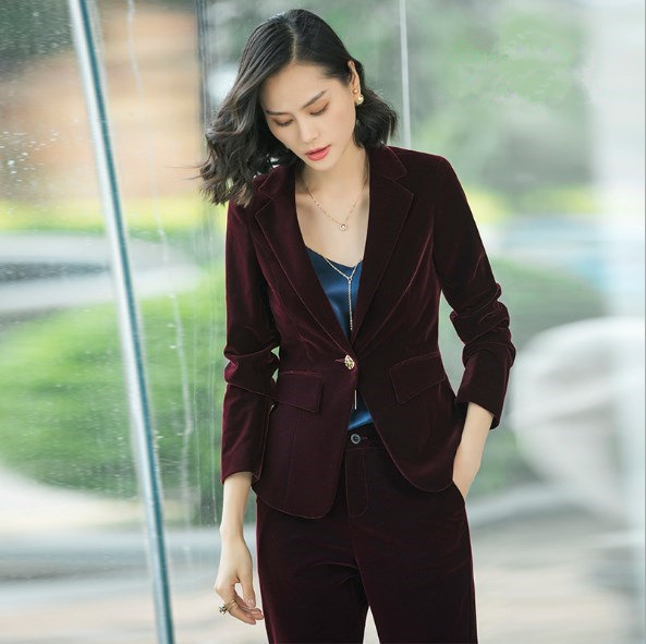 1a3d9e29564 2019 New Arrival Velvet Pant Suits For Women High Quality Outfits Womens  Office Trousers Suits Set