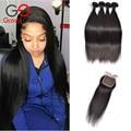 Gossip girl cabelo bundles com laço closures virgem reta cabelo brasileiro com fecho de cabelo humano tecer 4 pacotes com fecho