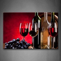 Framed Wall Art Pictures Red Grape Wine Canvas Print Food Poster With Wooden Frame For Home Living Room And Office Decor