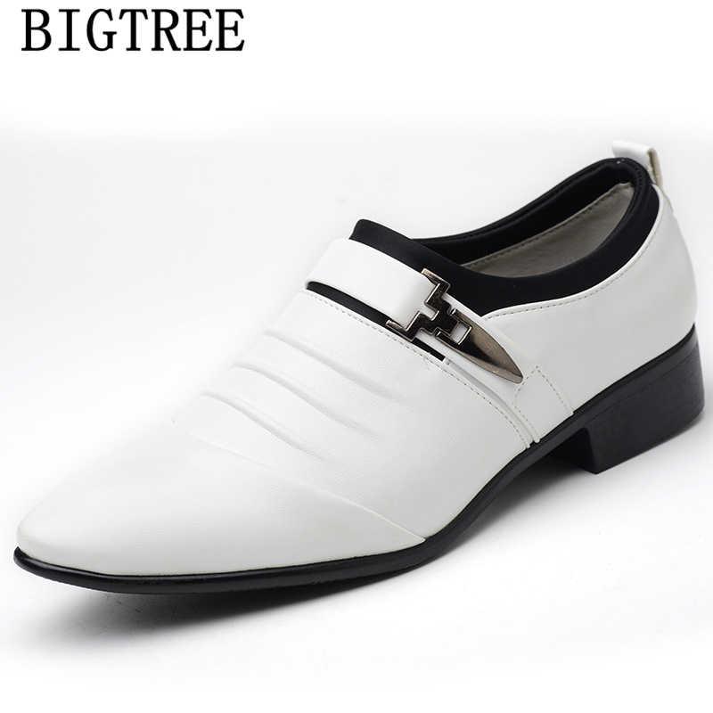 Escritório homens sapatos homens se vestem sapatos de couro da moda mens vestido sepatu mocassins deslizar sobre pria homme chaussure mariage heren schoenen