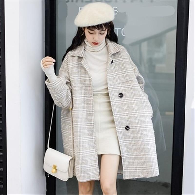 Jacket pink Apricot Loose Elegent Women's New Autumn Coat thin black gray Wool Black Coats Woolen Female Overcoatj964 Women 2018 Winter thin Plaid Apricot wSqZ0xfwXn