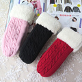 Autumn and winter Girls fashion winter thicken thermal warm mitten women's double layer velvet yarn twisted knitted gloves