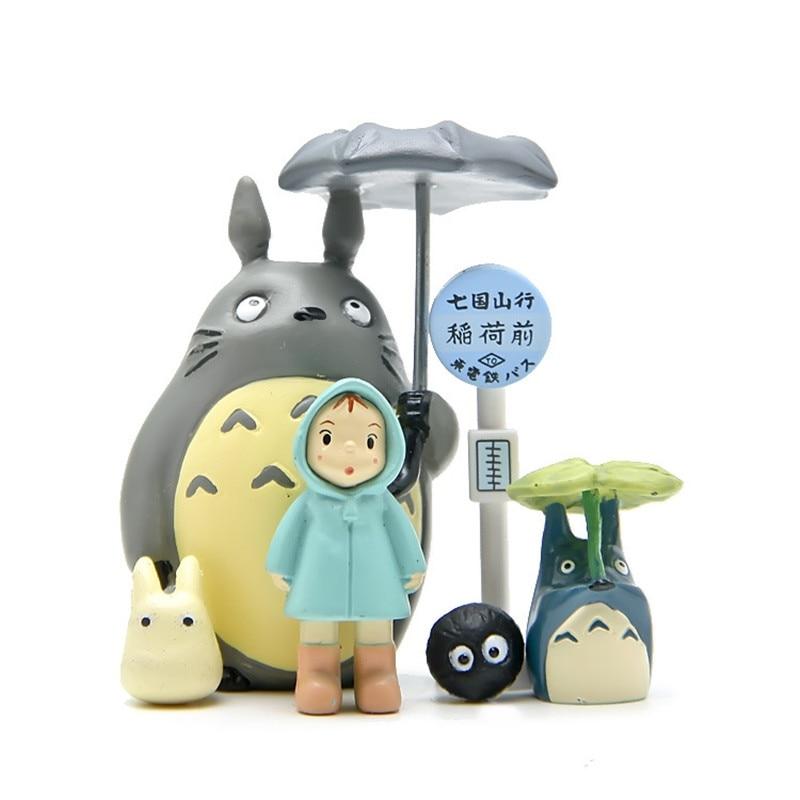 6pcs/pack Totoro Bus Station Coal Ball Xiaomei Umbrella Totoro Micro Landscape Action Figures Model Dolls