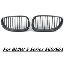 For BMW E60 E61 5 Series M5 2003 2004 2005 2006 2007 2008 2009 2010 Matt Gloss Black Front Sport Wide Kidney Grille Grills D25 3d car m styling front grille grill trim strip cover for bmw 5 series e60 2004 2005 2006 2007 2008 2009 2010 car accessories