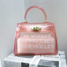 Amberler Clear Transparent PVC Women Handbag With Letters Fashion Women Jelly Shoulder Bag