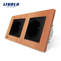 Livolo EU Standard Power Socket Cherry Wood Panel AC 110 250V 16A Wall Power Socket VL