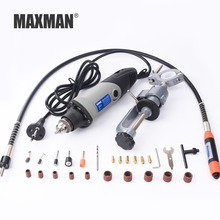 MAXMAN Dremel Drill Electric Mini Die Grinder & Bench Clamp & Flexible Shaft Multifunctional Electric Rotary Power Tools Set