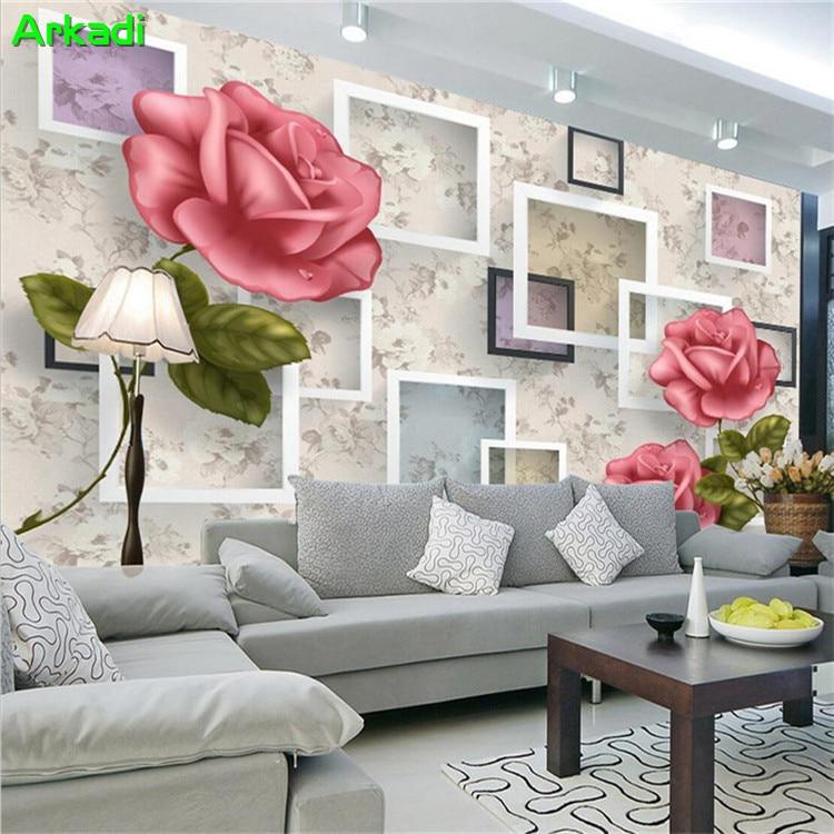 Schnelle Lieferung Gewohnheit Irgendeine Größe Wand Tuch Europäischen Stil Retro Rose Blumen Wandmalereien Wasserdichte Wallcloth Wohnzimmer Sofa Hintergrund Wand Papier Malzubehör & Wandgestaltung